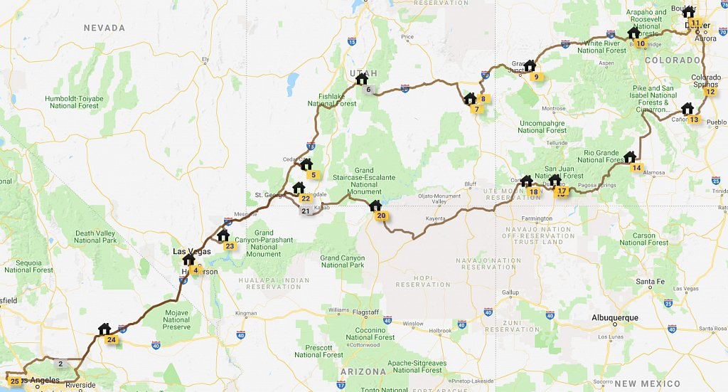 Map of entire route